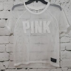 VS Pink white netted Jersey top